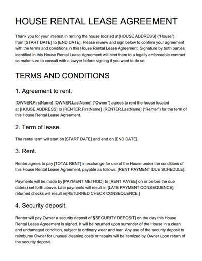 House Rental Agreement Template Free Download, Edit, Print And Sign  House Rental Agreement Template