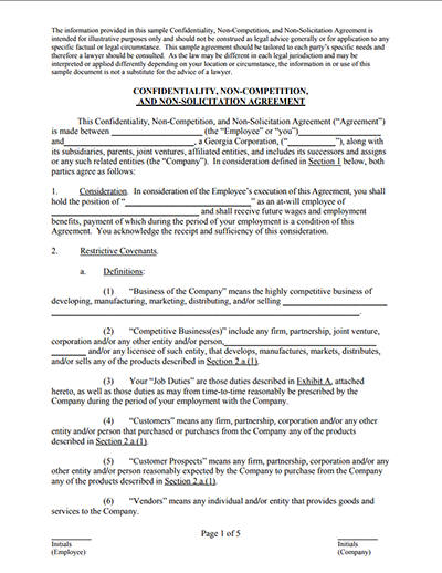 Non Compete Agreement Templates Free Download Fill Edit And Sign