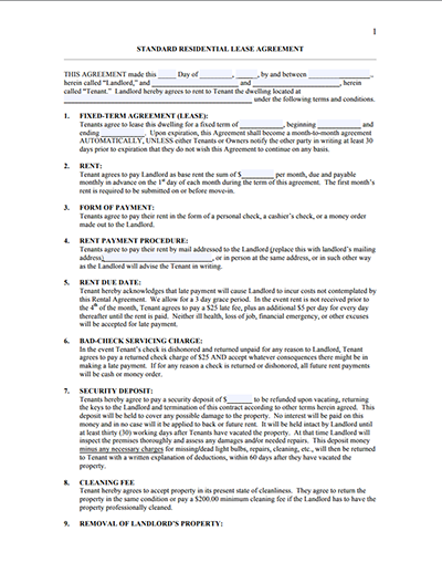 Residential Lease Agreement Templates - Free Download, Edit and Sign