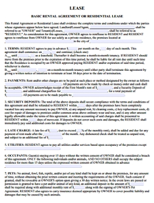 Residential Agreement Template
