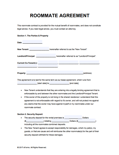 Roommate Lease Agreement Template Free Download Edit Print And Sign