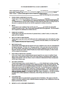 Sample Lease Agreement Template  Generic Lease Template