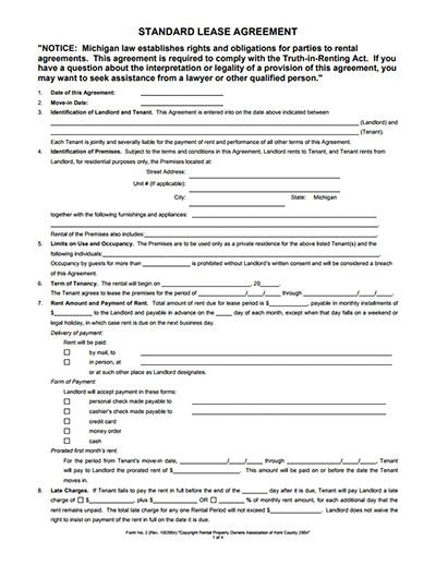 Standard Lease Agreement Templates