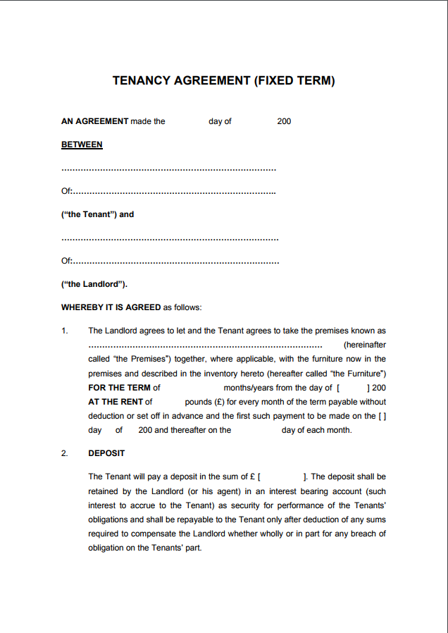 Tenancy Agreement Templates Free Download Edit Print